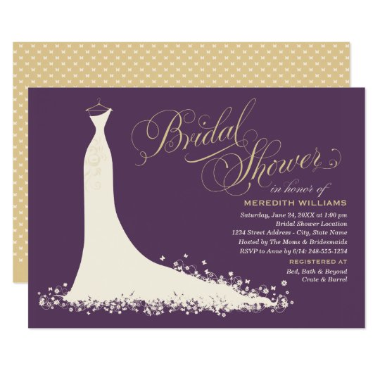 Elegant Gown Purple And Gold Bridal Shower Invitation Zazzlecom