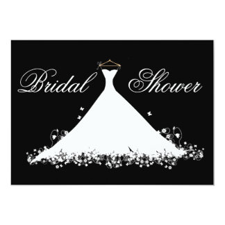Elegant Gown Silhouette Bridal Shower Card