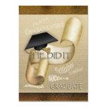 Elegant graduation cap scroll men custom invitation