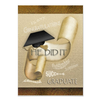 Elegant graduation cap scroll men custom invitation