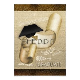 Elegant graduation cap scroll women invitation