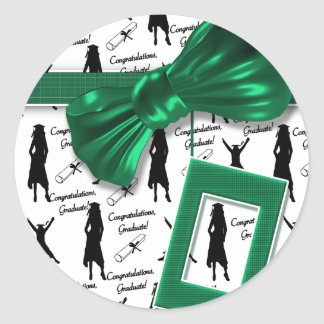 Elegant graduation gifts for women - customizable classic round sticker