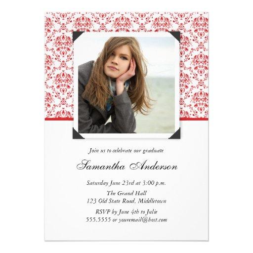 Elegant Graduation Invitation Announcement - Red