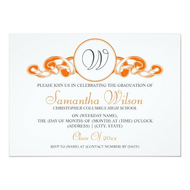Personalized monogram graduation invitations custominvitations4u elegant graduation monogram ribbon orange 5x7 paper invitation card filmwisefo Images
