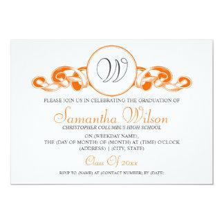 Elegant Graduation Monogram Ribbon Orange Card