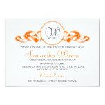 Elegant Graduation Monogram Ribbon Orange 5x7 Paper Invitation Card