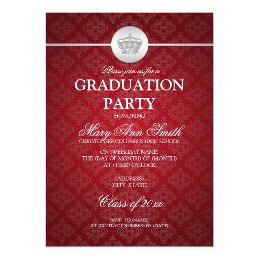 Elegant Graduation Party Classy Crown Red Invite