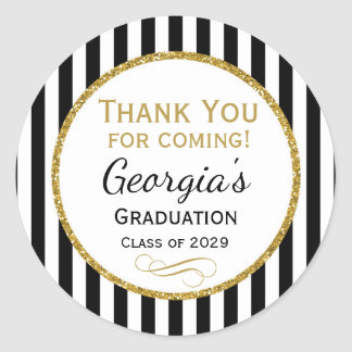 Elegant Graduation Party Favor Tags Black Gold