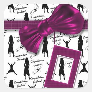 Elegant graduation party for women - customizable square sticker