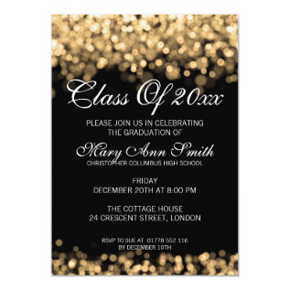 Elegant Graduation Party Gold Lights Card at Zazzle