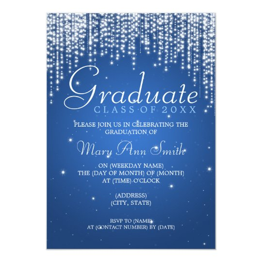 Elegant Graduation Party Night Dazzle Blue Card