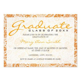 Elegant Graduation Party Paisley Orange Custom Invitations