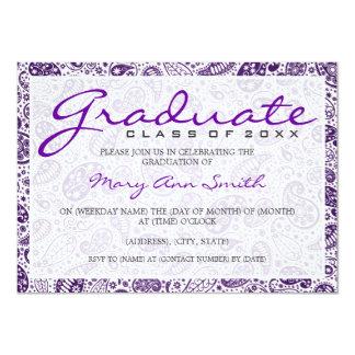 Elegant Graduation Party Paisley Purple Announcements
