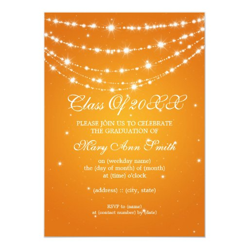 Elegant Graduation Party Sparkling Chain Orange 5x7 Paper Invitation Card