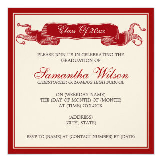 Elegant Graduation Party Vintage Ribbon Red Card