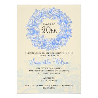 Elegant Graduation Party Vintage Roses Blue Tan Card