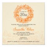 Elegant Graduation Party Vintage Roses Orange Tan 5.25x5.25 Square Paper Invitation Card
