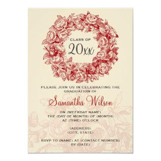 Elegant Graduation Party Vintage Roses Red Tan Card