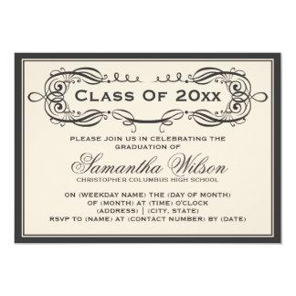 Elegant Graduation Party Vintage Swirls Black Card