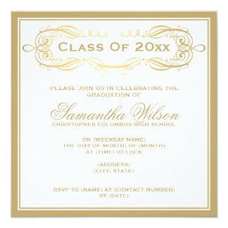 Elegant Graduation Party Vintage Swirls Gold Card