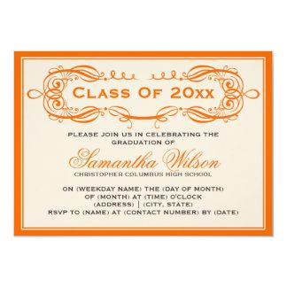 Elegant Graduation Party Vintage Swirls Orange Card