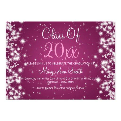 Elegant Graduation Party Winter Sparkle Berry Card