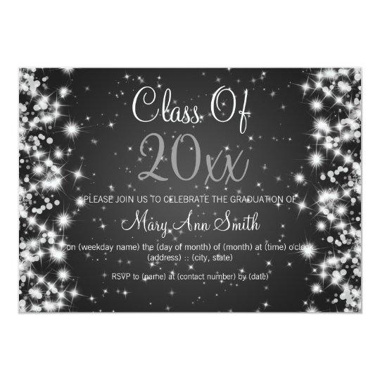 Elegant Graduation Party Winter Sparkle Black Card