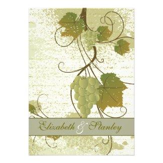 Elegant grapevine fall wedding invitation