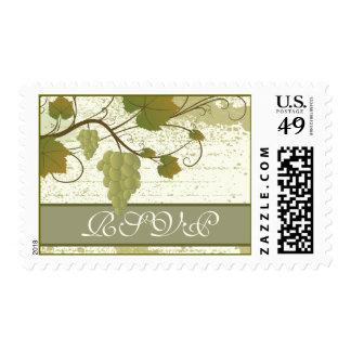 Elegant grapevine fall wedding RSVP stamp