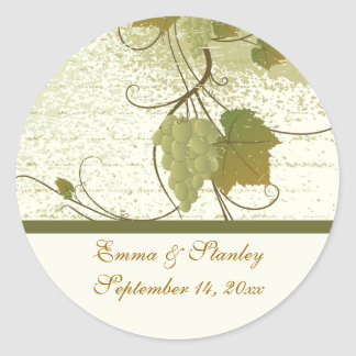 Elegant grapevine fall wedding Save the Date Classic Round Sticker