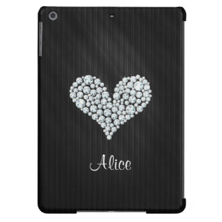 Elegant Graphic Diamond Heart Striped Background Cover For iPad Air