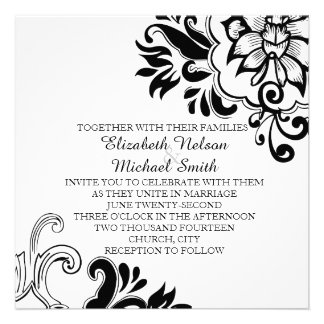 Elegant Graphic Vintage Floral Wedding Invite