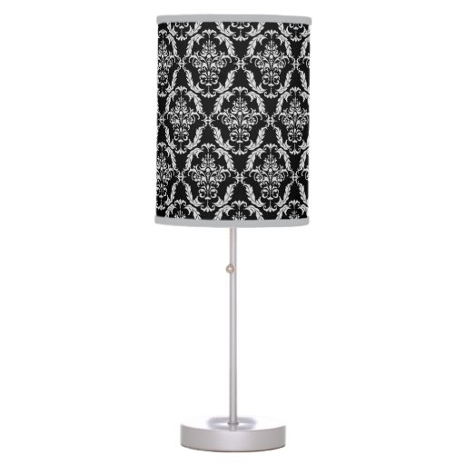 Elegant Gray And Black Damask Pattern Table Lamps