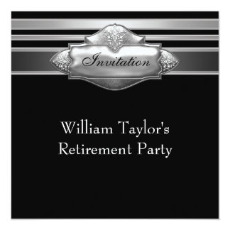 "Elegant Gray and Black Mans Retirement Party 5.25"" Square Invitation Card"