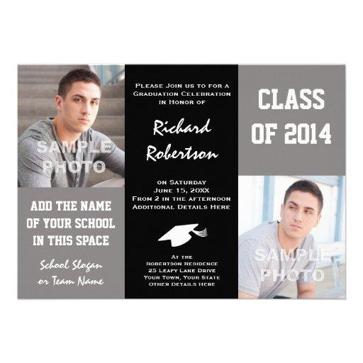 Elegant Gray and Black Young Man's Graduation 2014 Custom Invitations