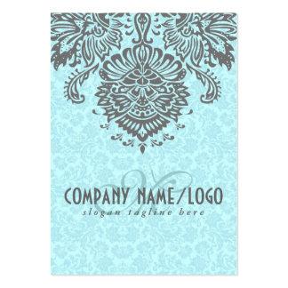 Elegant Gray And Blue Vintage Floral Damasks Large Business Cards (Pack Of 100)