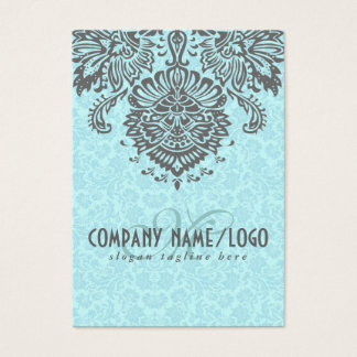 Elegant Gray And Blue Vintage Floral Damasks Business Card