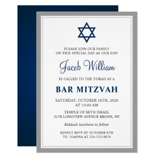 Elegant Gray and Navy Blue Bar Mitzvah Invitation