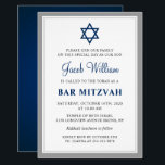 "Elegant Gray and Navy Blue Bar Mitzvah Invitation<br><div class=""desc"">Elegant Gray and Navy Blue Bar Mitzvah Invitation</div>"