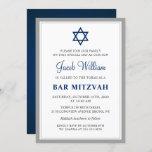 "Elegant Gray and Navy Blue Bar Mitzvah Invitation<br><div class=""desc"">Elegant Gray and Navy Blue Bar Mitzvah Invitation</div>"