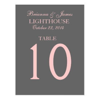 Elegant Gray and Pink Wedding Table Number Card Postcard