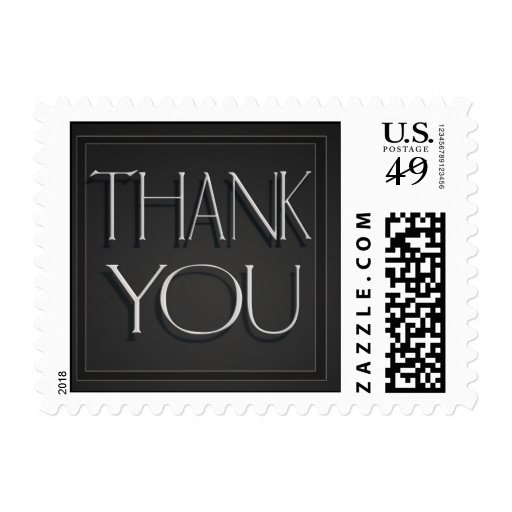 Elegant gray and silver thank you postage