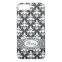 Elegant Gray and White Damask iPhone 7 Case