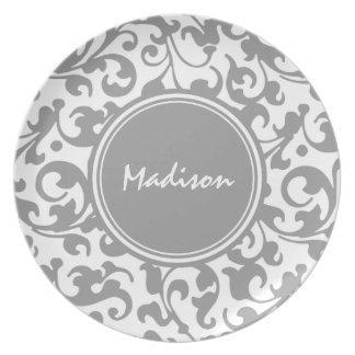 Elegant Gray and White Damask Scroll Monogram Dinner Plate