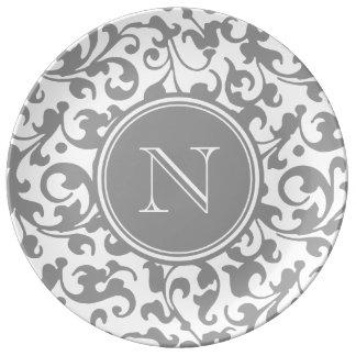 Elegant Gray and White Damask Scroll Monogram Porcelain Plate