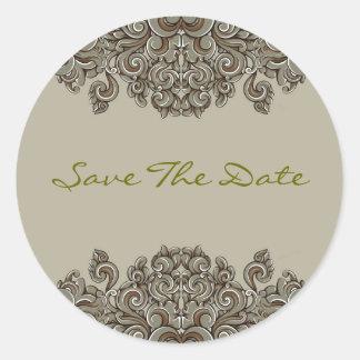 Elegant Gray AndBeige Victorian Floral Swirls Classic Round Sticker