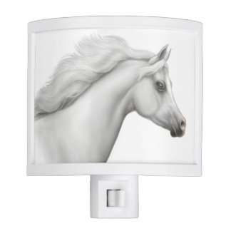 Elegant Gray Arabian Horse Night Light