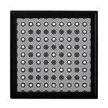 Elegant Gray Black And White Quatrefoil Pattern Trinket Boxes