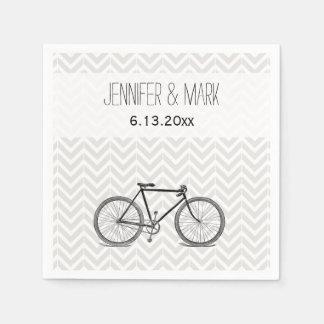 Elegant Gray Chevron Vintage Bicycle Wedding 2 Napkin