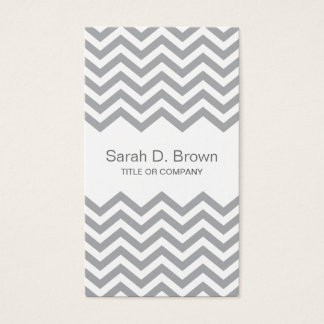 Elegant gray chevron zigzag pattern business card